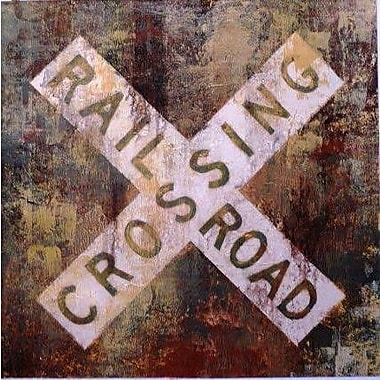 Portfolio Canvas Railroad Crossing by Michael Longo Painting Print on Wrapped Canvas