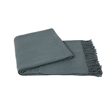 Cashmere Collection Chevron Wool Blend Throw; Lake