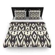 KESS InHouse Black Cream Tribal Ikat by Amanda Lane Woven Duvet Cover; Twin