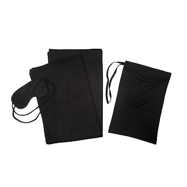 Cashmere Collection 3 Piece Cashmere Throw Travel Set; Black