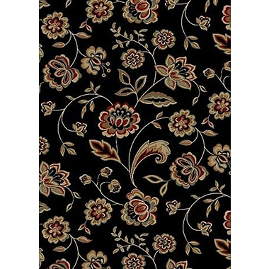 Mayberry Rug City Black Flora Area Rug; 5' x 8'