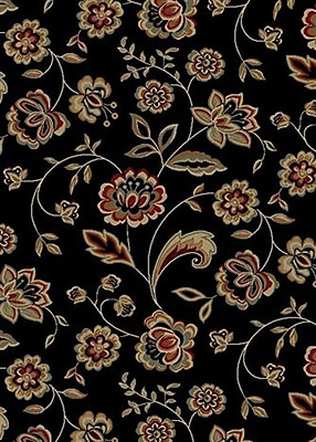Mayberry Rug City Black Flora Area Rug; 8' x 10'