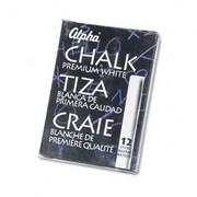 Quartet Alpha Nontoxic Low Dust Chalk, 12 Sticks/Pack