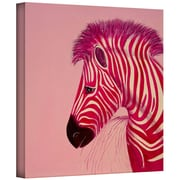 ArtWall 'Pink Zebra' by Lindsey Janich Graphic Art on Wrapped Canvas; 14'' H x 14'' W