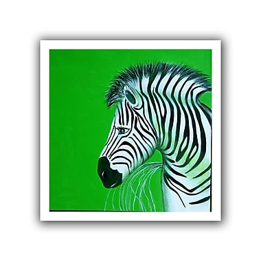 ArtWall Zebras Green' by Lindsey Janich Painting Print on Rolled Canvas; 28'' H x 28'' W