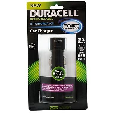 Duracell® - Chargeur de voiture double USB 3.1 Amp recharge rapide, universel