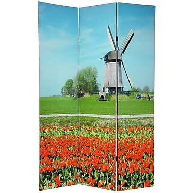 Oriental Furniture 70.88'' x 47.25'' Double Sided Windmills 3 Panel Room Divider