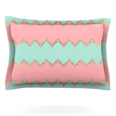 KESS InHouse Avalon Soft Coral and Mint Chevron by Monika Strigel Featherweight Pillow Sham; Queen