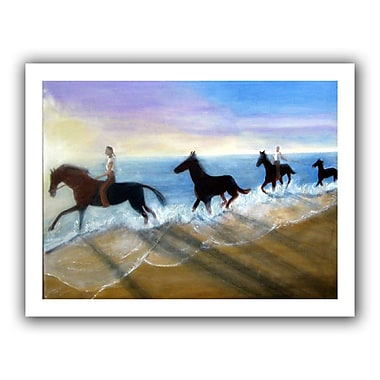 ArtWall 'Horses on the Beach Painting' by Lindsey Janich Painting Print on Canvas; 28'' H x 36'' W