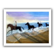 ArtWall 'Horses on the Beach Painting' by Lindsey Janich Painting Print on Canvas; 18'' H x 22'' W