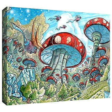ArtWall 'Mushroom Forest' by Luis Peres Graphic Art on Wrapped Canvas; 16'' H x 24'' W