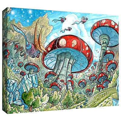ArtWall 'Mushroom Forest' by Luis Peres Graphic Art on Wrapped Canvas; 12'' H x 18'' W