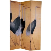 Oriental Furniture 72'' x 48'' Double Sided Cranes 3 Panel Room Divider