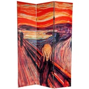 Oriental Furniture 72'' x 48'' Double Sided The Scream 3 Panel Room Divider