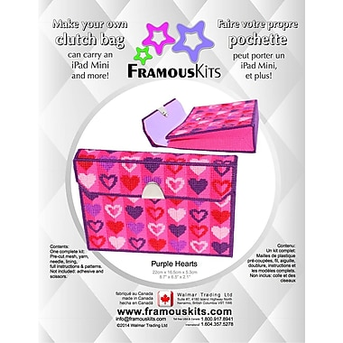 FramousKits Purple Hearts Clutch Bag Plastic Canvas Kit, 6.5