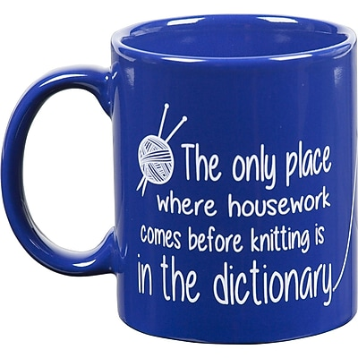 K1C2 Knit Coffee Mug, 11 oz., Happy Blue Dictionary