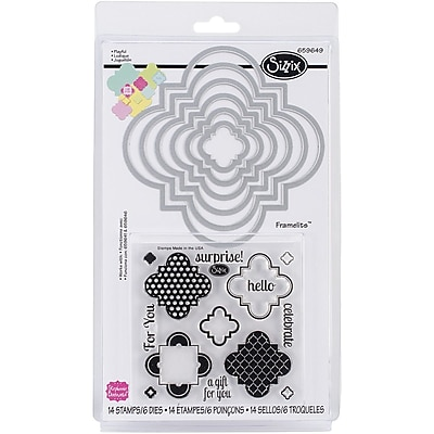 Sizzix® Playful Framelits Die Set With Stamps