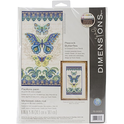 Dimensions Peacock Butterflies Counted Cross Stitch Kit, 8