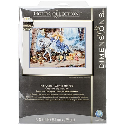 """Dimensions Gold Collection Fairytale Counted Cross Stitch Kit, 15"""" x 11"""""""