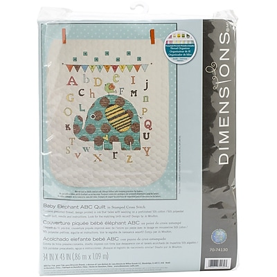 Dimensions Baby Elephant ABC Quilt Stamped Cross Stitch Kit, 34
