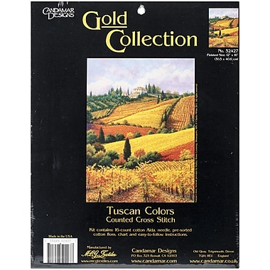 M C G Textiles Gold Collection Tuscan Colors Counted Cross Stitch Kit, 12