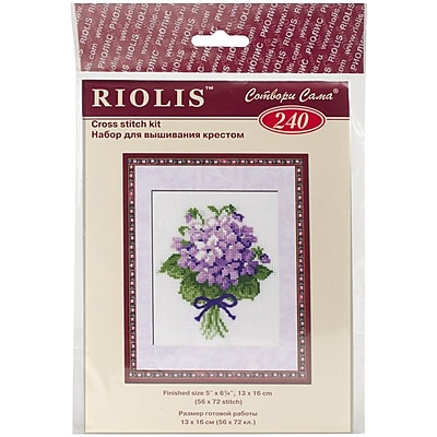 Riolis Violets Counted Cross Stitch Kit, 5