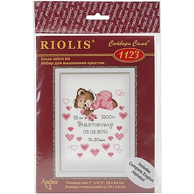 Riolis Girls Birth Announcement Counted Cross Stitch Kit, 7