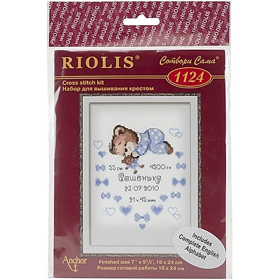 Riolis Boys Birth Announcement Counted Cross Stitch Kit, 7