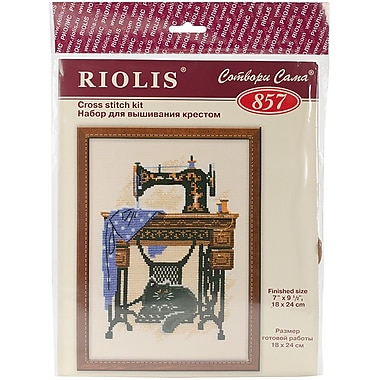 Riolis Cat with Sewing Machine Counted Cross Stitch Kit, 7