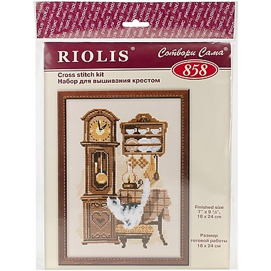 Riolis Cath with Clock Counted Cross Stitch Kit, 7