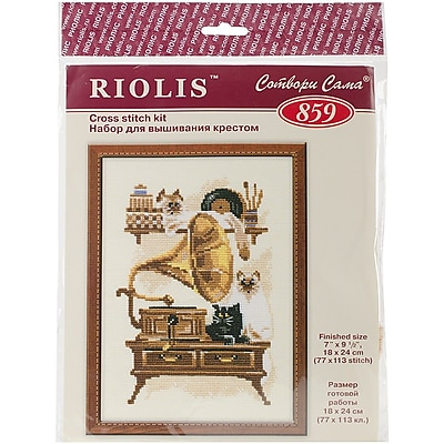 Riolis Cat with Gramaphone Counted Cross Stitch Kit, 7