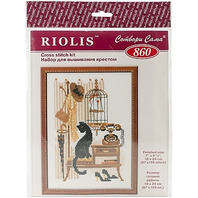 Riolis Cat with Telephone Counted Cross Stitch Kit, 7