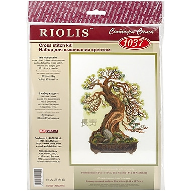 Riolis Bonsai Pine Wish of Longevity Counted Cross Stitch Kit, 13 3/4