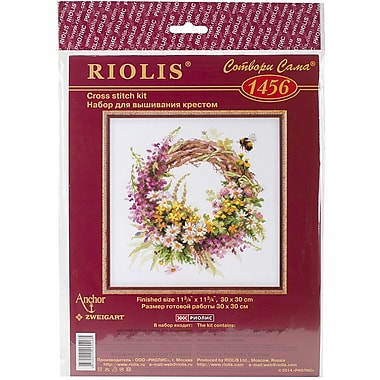 Riolis Wreath with Fireweed Counted Cross Stitch Kit, 11 3/4