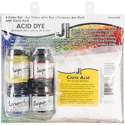 Jacquard Hot Water Dye Set With Citric Acid, Assorted, 1/2 oz.