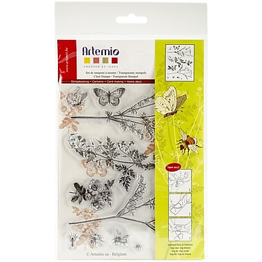 Artemio Flowers & Butterflies Stamp, Clear, 5.9
