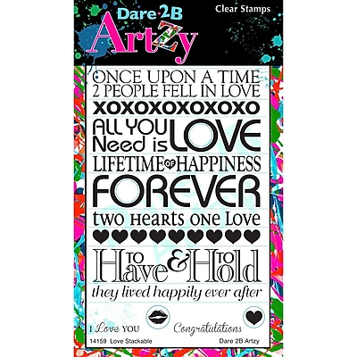 Dare 2B Artzy Love Stackable Stamp, Clear, 4