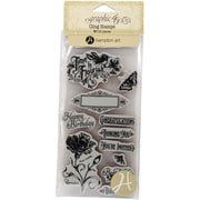 "Hampton Art #1 Time To Flourish Cling Stamp, 8"" x 4"""