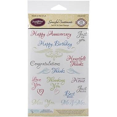 Justrite Papercraft® Graceful Sentiments Stamp Set, Clear, 4