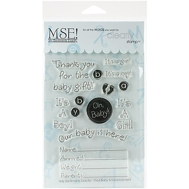 My Sentiments Exactly Baby Announcement Stamp, Clear, 4