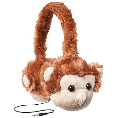 Retrak – Casque d'écoute supra-auriculaire rétractable Animalz pour enfants avec limitation du volume, singe (EMTAUDFMNKY)