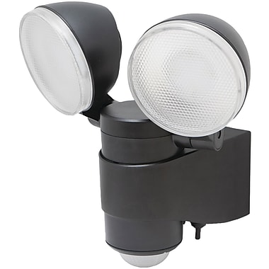 Maxsa Battery Powered Motion Activated Dual Head LED Security Spotlight, Black (MXI43218)