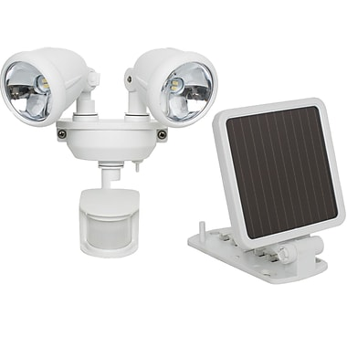 Maxsa Solar Powered Motion Activated Dual Head LED Security Spotlight, White (MXI44217)