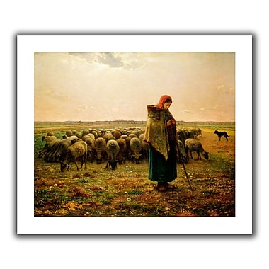 ArtWall Shepherdess w/ her Flock' by Jean Francois Millet Painting Print on Rolled Canvas