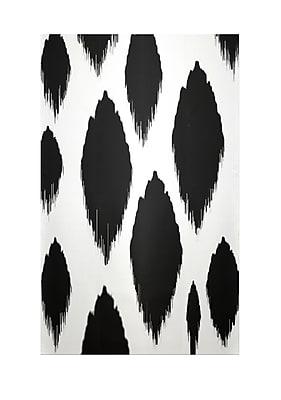 E By Design Ikat Black Indoor/Outdoor Area Rug; Rectangle 2' x 3'