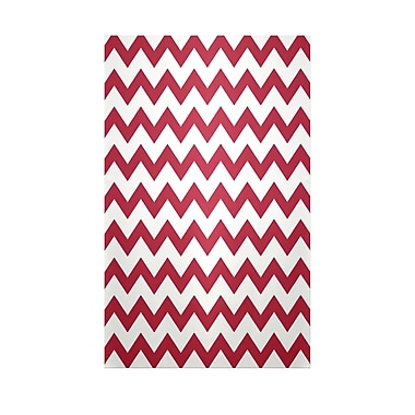 E By Design Chevron Red Indoor/Outdoor Area Rug; Rectangle 2' x 3'