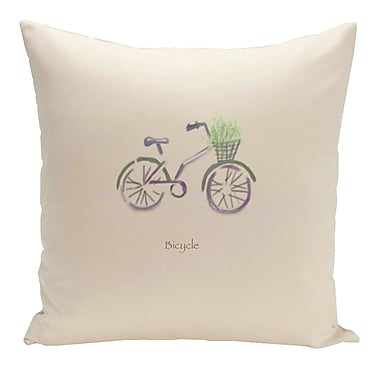 E By Design Decorative Bicycle Throw Pillow; 20'' H x 20'' W