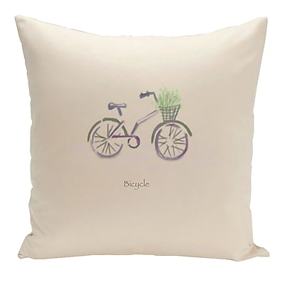 E By Design Decorative Bicycle Throw Pillow; 16'' H x 16'' W