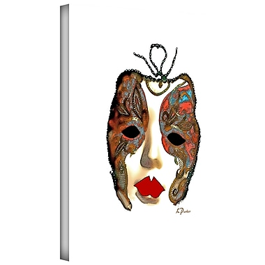 ArtWall 'Venetian Mask II' by Linda Parker Graphic Art on Wrapped Canvas; 14'' H x 18'' W