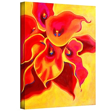 ArtWall 'Red Calla Shadow' by Susi Franco Painting Print on Canvas; 32'' H x 24'' W